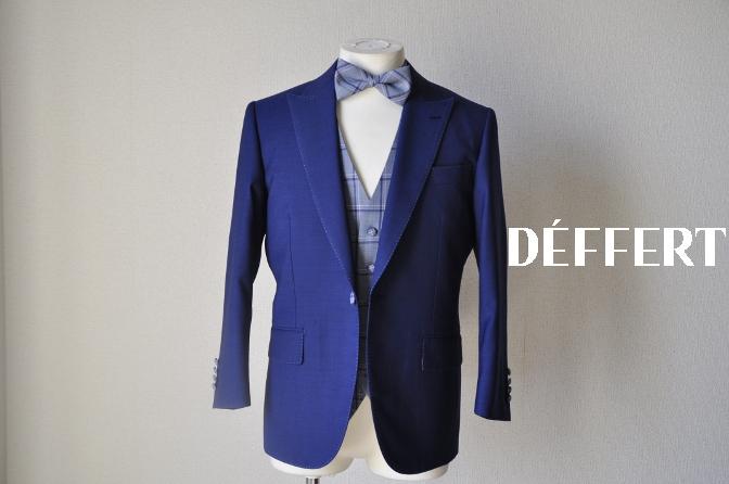 DSC1497 お客様のウエディング衣装の紹介-ネイビースーツにチェックベスト-