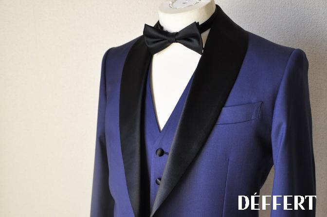 DSC1567 お客様のウエディング衣装の紹介-ネイビータキシード- 名古屋の完全予約制オーダースーツ専門店DEFFERT