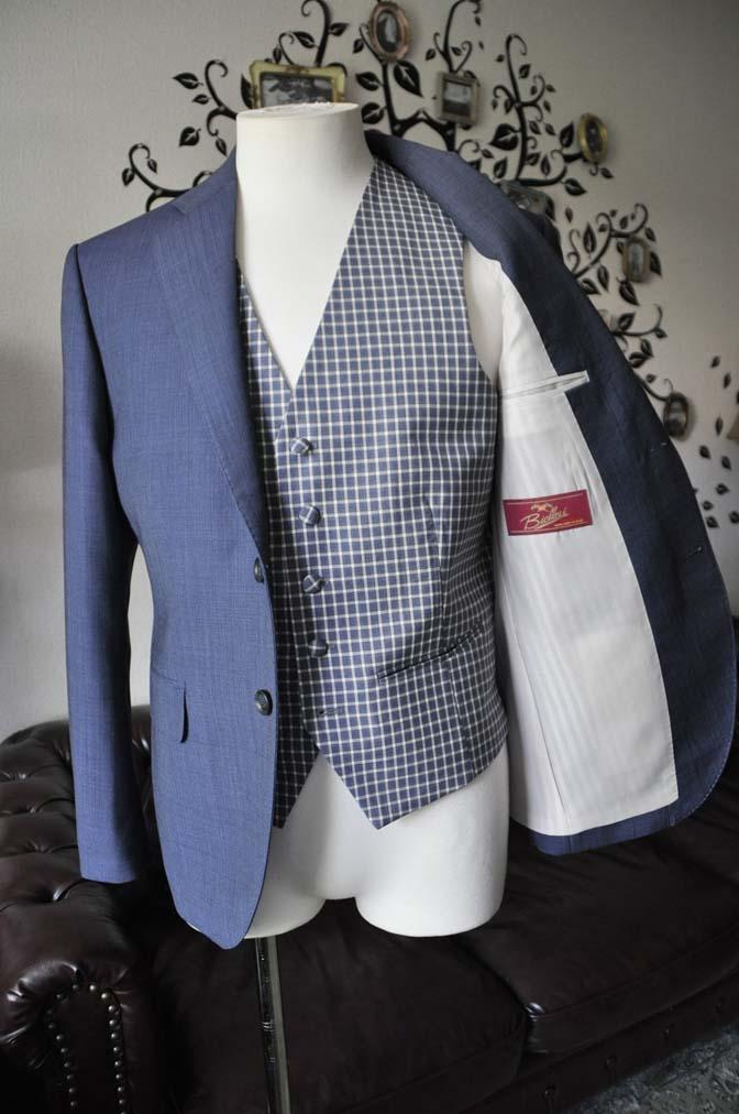 DSC1627-1 お客様のウエディング衣装の紹介- Biellesi無地ネイビースーツ チェックベスト-