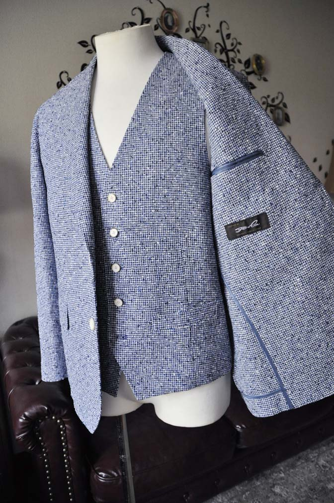DSC1648-2 お客様のジャケット/ベストの紹介-FERLA ホワイト/ネイビーリネン-