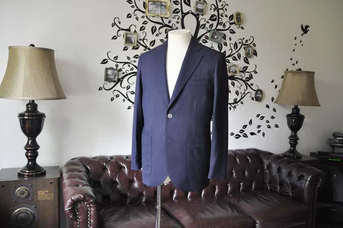 DSC1657-1 お客様のジャケットの紹介-Biellesiネイビーホップサック ジャケット- 名古屋の完全予約制オーダースーツ専門店DEFFERT
