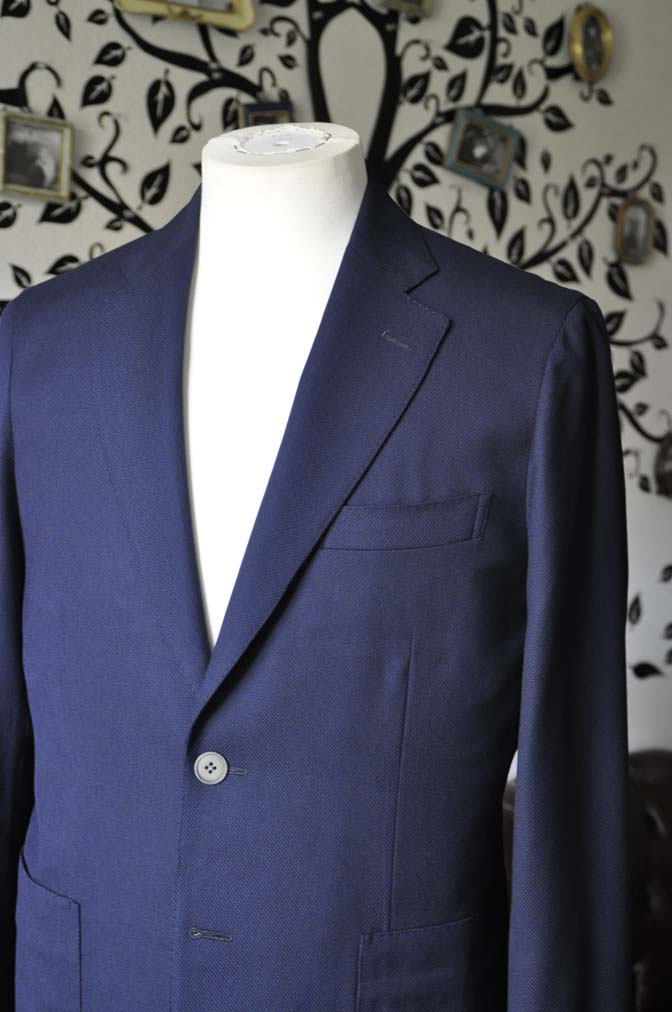 DSC1661-2 お客様のジャケットの紹介-Biellesiネイビーホップサック ジャケット- 名古屋の完全予約制オーダースーツ専門店DEFFERT