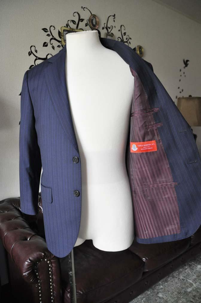 DSC1688-1 お客様のスーツの紹介-CARLO BARBERAネイビーストライプスーツ- 名古屋の完全予約制オーダースーツ専門店DEFFERT