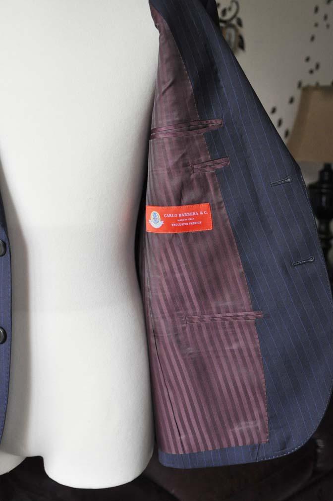 DSC1689-1 お客様のスーツの紹介-CARLO BARBERAネイビーストライプスーツ- 名古屋の完全予約制オーダースーツ専門店DEFFERT