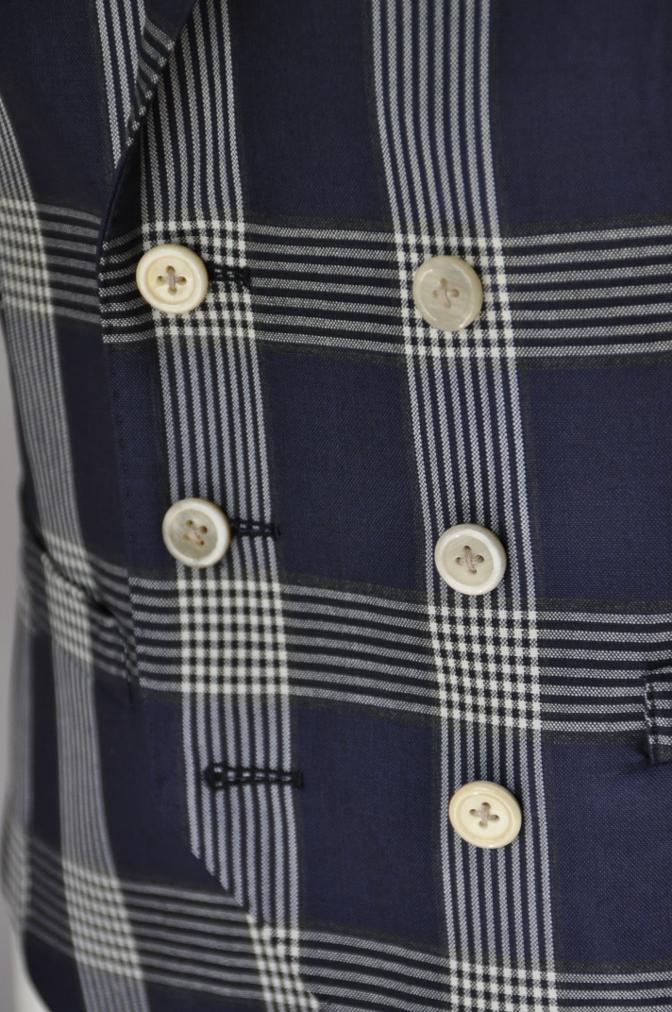 DSC17071 お客様のスーツの紹介- Tollegno ネイビーチェック ダブルスーツ-