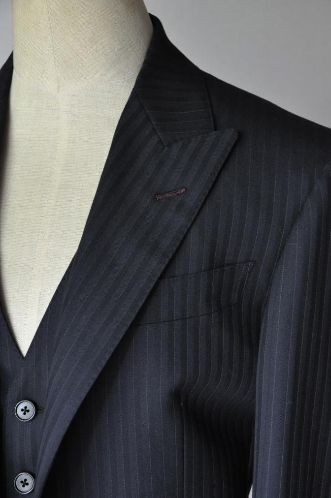 DSC1828 お客様のスーツの紹介-ブラックストライプ- 名古屋の完全予約制オーダースーツ専門店DEFFERT
