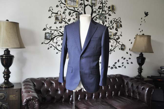 DSC1872-1 お客様のスーツの紹介-Biellesiネイビーストライプスーツ- 名古屋の完全予約制オーダースーツ専門店DEFFERT