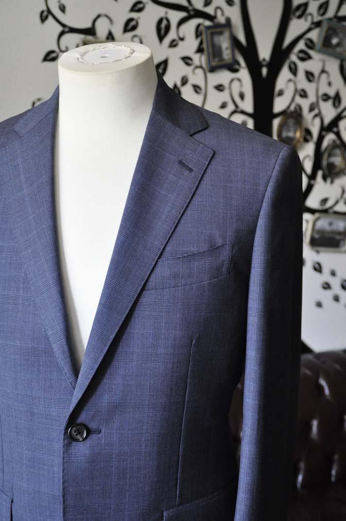 DSC1908 お客様のスーツの紹介-Biellesiネイビーグレンチェックスーツ-