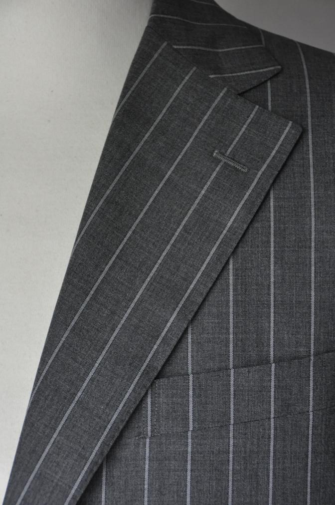 DSC1936 お客様のスーツの紹介- CANONICO グレーストライプ-