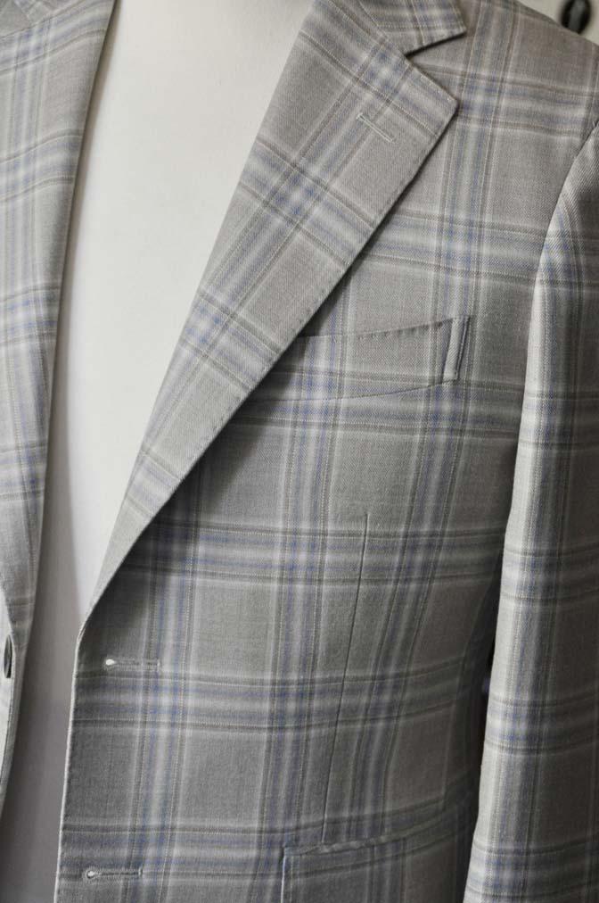 DSC2012-1 お客様のジャケットの紹介-Tallia Di Delfinoベージュチェックジャケット- 名古屋の完全予約制オーダースーツ専門店DEFFERT