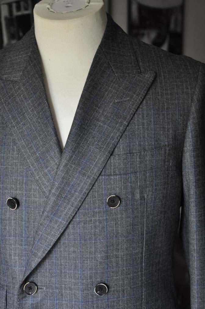 DSC20341 お客様のスーツの紹介- DARROWDALE グレーチェック6*2ダブルスーツ-