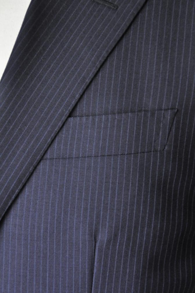 DSC20541 お客様のスーツの紹介-ALFRED BROWN ネイビーストライプ- 名古屋の完全予約制オーダースーツ専門店DEFFERT