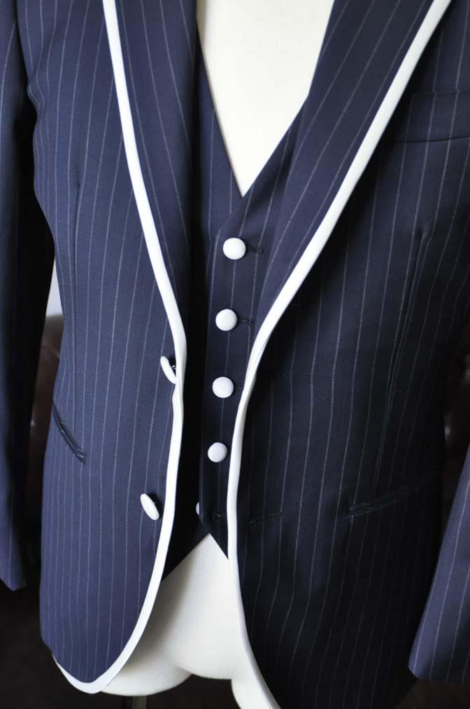 DSC2072-1 お客様のウエディング衣装の紹介- Biellesiネイビーストライプパイピングジャケット-DSC2072-1 お客様のウエディング衣装の紹介- Biellesiネイビーストライプパイピングジャケット- 名古屋市のオーダータキシードはSTAIRSへ