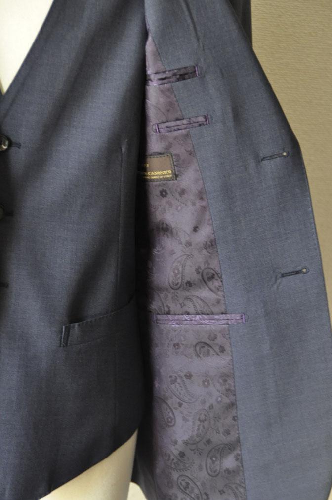DSC21171 お客様のスーツの紹介-CANONICO 無地ネイビースリーピーススーツ -