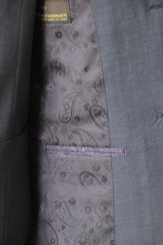 DSC2118 お客様のスーツの紹介-CANONICO 無地ネイビースリーピーススーツ -