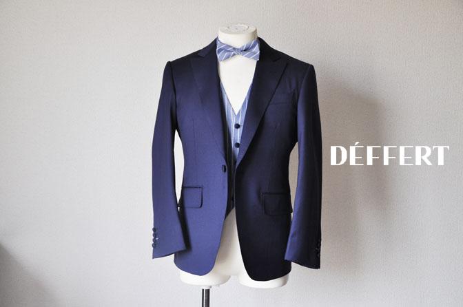 DSC2170 お客様のウエディング衣装の紹介-Biellesi 無地ネイビー ストライプベスト- 名古屋の完全予約制オーダースーツ専門店DEFFERT