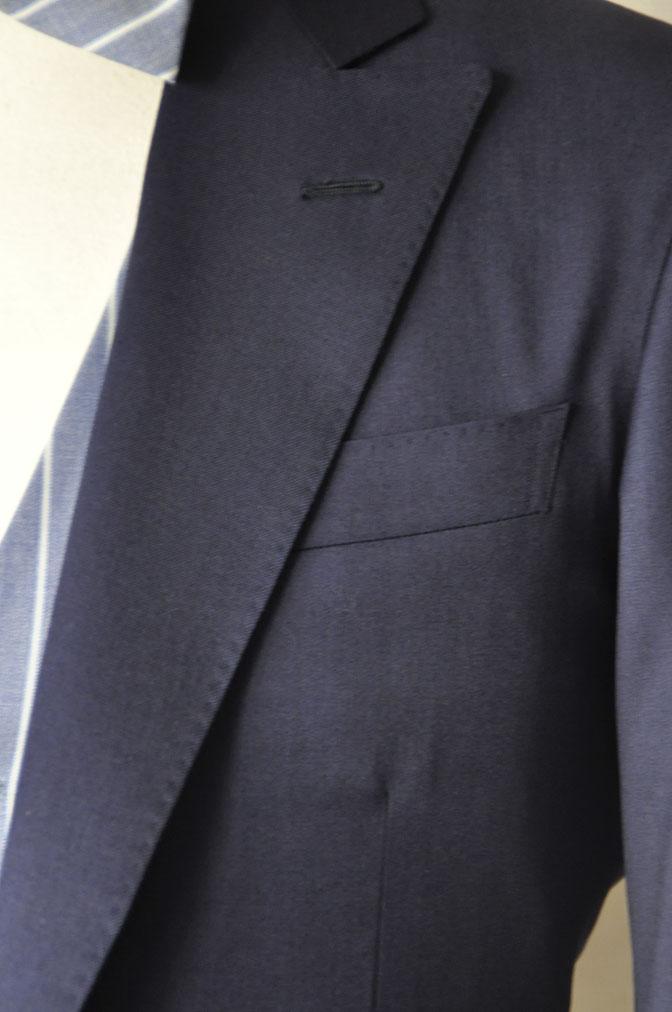 DSC21782 お客様のウエディング衣装の紹介-Biellesi 無地ネイビー ストライプベスト- 名古屋の完全予約制オーダースーツ専門店DEFFERT