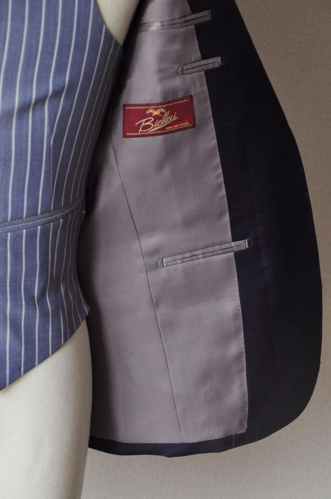 DSC21971 お客様のウエディング衣装の紹介-Biellesi 無地ネイビー ストライプベスト- 名古屋の完全予約制オーダースーツ専門店DEFFERT