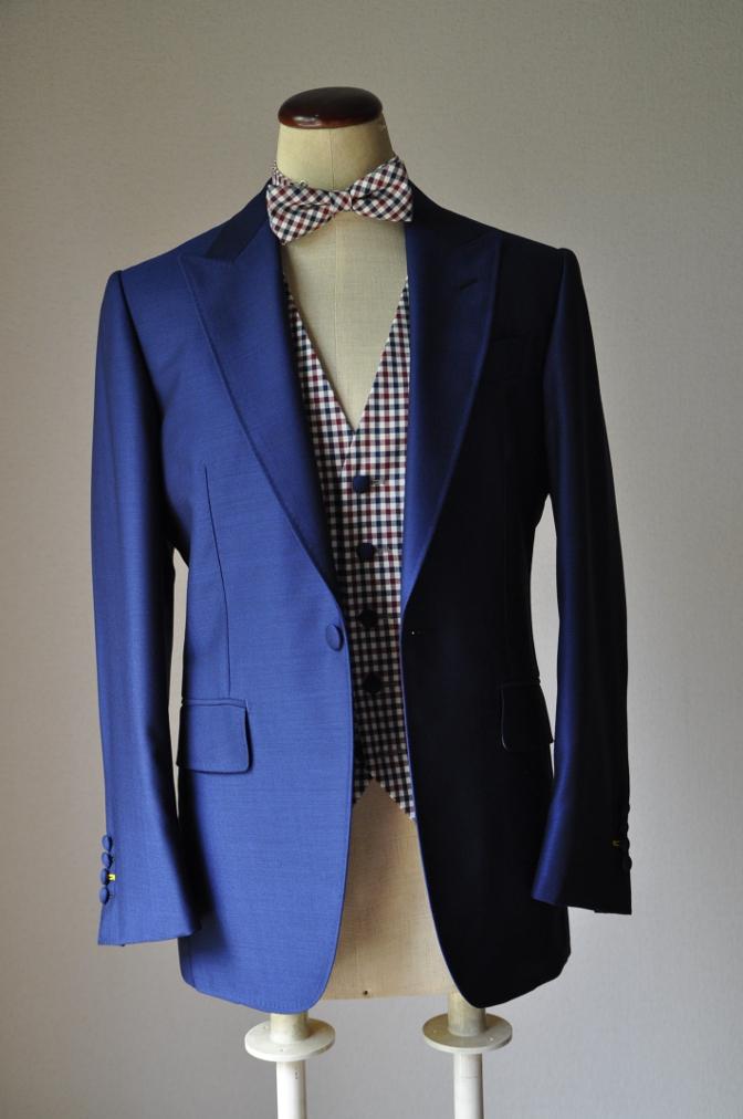 DSC2359 お客様のウエディング衣装の紹介-BIELLESI ネイビースーツ チェックベスト- 名古屋の完全予約制オーダースーツ専門店DEFFERT