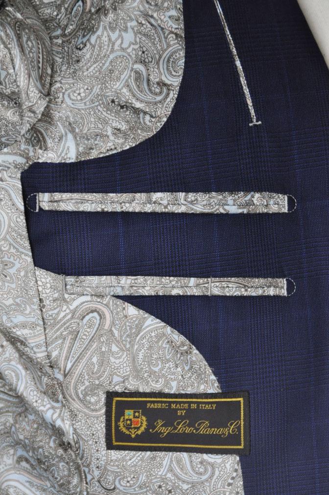 DSC23632 お客様のスーツの紹介-LoroPiana ネイビチェックスーツ - 名古屋の完全予約制オーダースーツ専門店DEFFERT