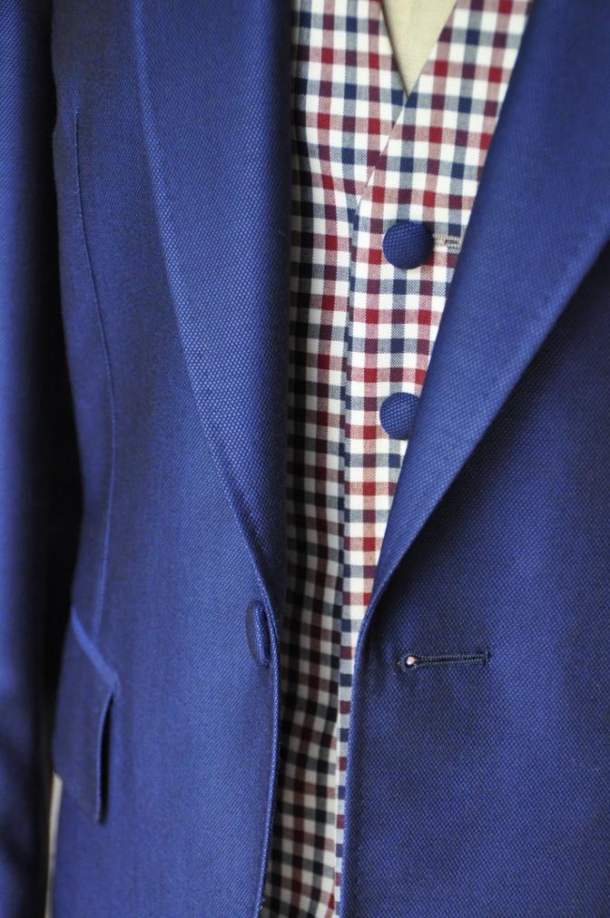 DSC2365 お客様のウエディング衣装の紹介-BIELLESI ネイビースーツ チェックベスト- 名古屋の完全予約制オーダースーツ専門店DEFFERT