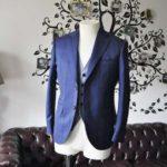 お客様のウエディング衣装の紹介- CANOICOネイビーチェックジャケット ライトブルー千鳥格子ベスト-