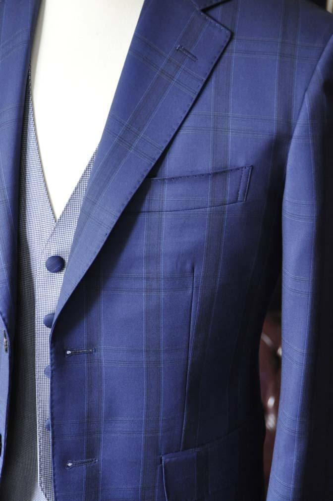 DSC2396-1 お客様のウエディング衣装の紹介- CANOICOネイビーチェックジャケット ライトブルー千鳥格子ベスト- 名古屋の完全予約制オーダースーツ専門店DEFFERT