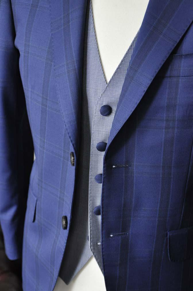 DSC2397-1 お客様のウエディング衣装の紹介- CANOICOネイビーチェックジャケット ライトブルー千鳥格子ベスト- 名古屋の完全予約制オーダースーツ専門店DEFFERT