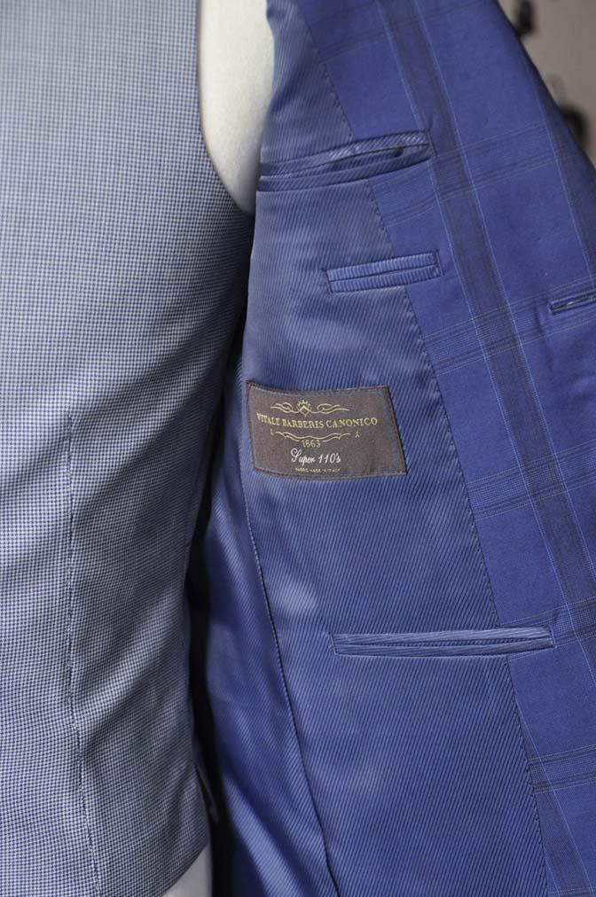 DSC2404-2 お客様のウエディング衣装の紹介- CANOICOネイビーチェックジャケット ライトブルー千鳥格子ベスト- 名古屋の完全予約制オーダースーツ専門店DEFFERT