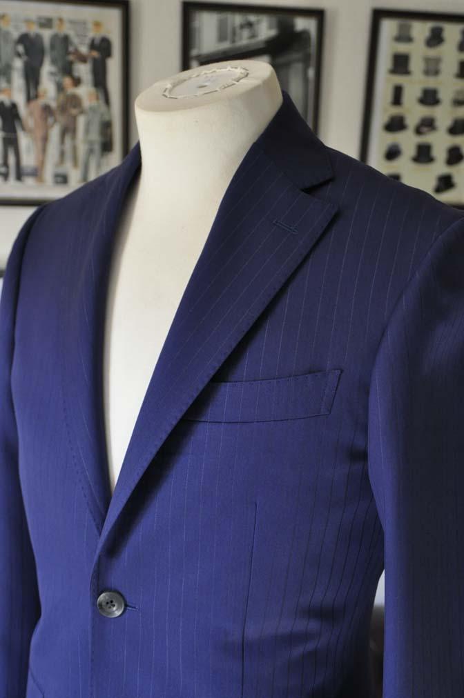 DSC2501-1 お客様のスーツの紹介- Biellesi ネイビーストライプ-