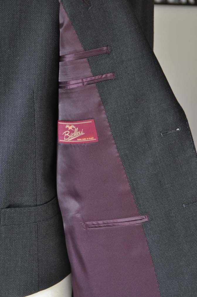 DSC25351 お客様のスーツの紹介- Biellesi グレーバーズアイ スリーピース-