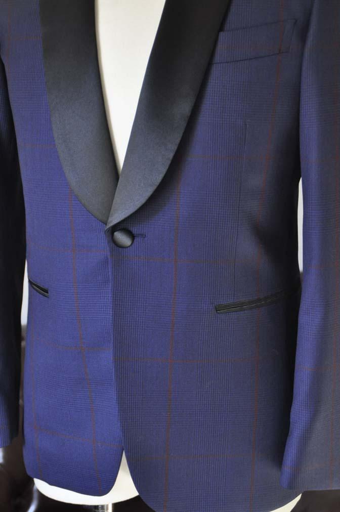 DSC2581 お客様のウエディング衣装の紹介- Biellesiネイビーチェック ショールカラータキシード-DSC2581 お客様のウエディング衣装の紹介- Biellesiネイビーチェック ショールカラータキシード- 名古屋市のオーダータキシードはSTAIRSへ