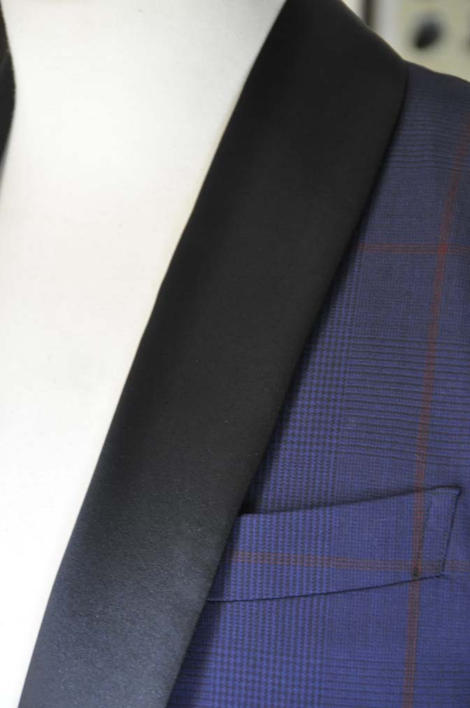 DSC25851 お客様のウエディング衣装の紹介- Biellesiネイビーチェック ショールカラータキシード-DSC25851 お客様のウエディング衣装の紹介- Biellesiネイビーチェック ショールカラータキシード- 名古屋市のオーダータキシードはSTAIRSへ