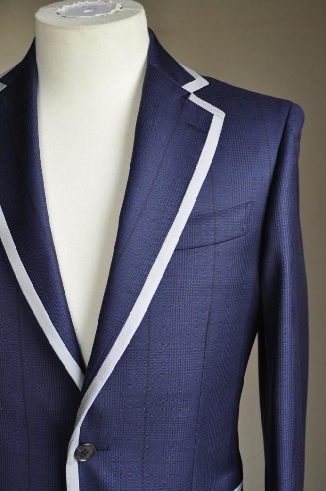 DSC26781 お客様のスーツの紹介-BIELLESI ネイビーグレンチェック パイピング-