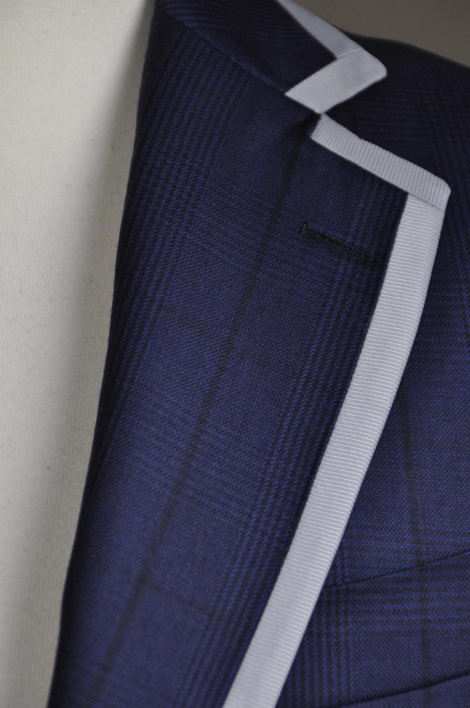 DSC26791 お客様のスーツの紹介-BIELLESI ネイビーグレンチェック パイピング-