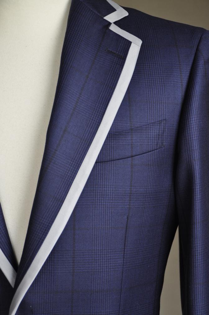 DSC26801 お客様のスーツの紹介-BIELLESI ネイビーグレンチェック パイピング-