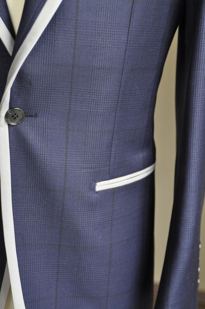 DSC2681 お客様のスーツの紹介-BIELLESI ネイビーグレンチェック パイピング-