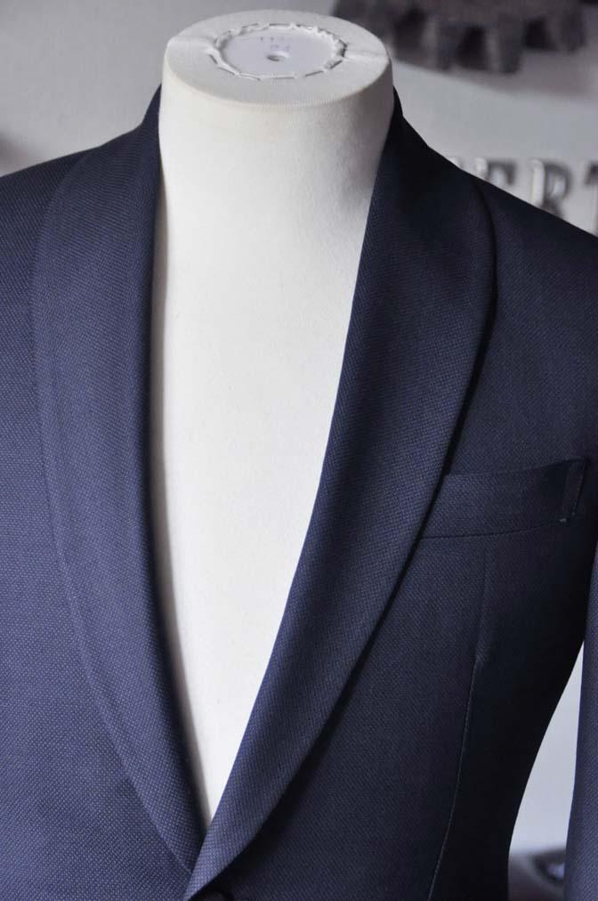 DSC26883 お客様のウエディング衣装の紹介- Biellesi ネイビーバーズアイ ショールカラースーツ-