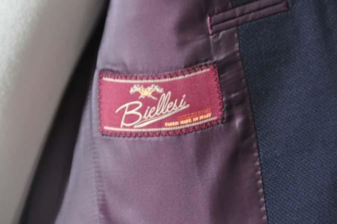DSC27003 お客様のウエディング衣装の紹介- Biellesi ネイビーバーズアイ ショールカラースーツ-