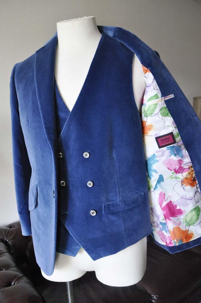 DSC2735-1 お客様のパーティー用スーツの紹介- NIEDIECK ネイビーベルベットスリーピース- 名古屋の完全予約制オーダースーツ専門店DEFFERT
