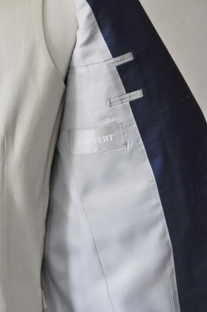 DSC2878-1 お客様のウエディング衣装の紹介-ネイビーコットンスーツ ホワイトベスト- 名古屋の完全予約制オーダースーツ専門店DEFFERT
