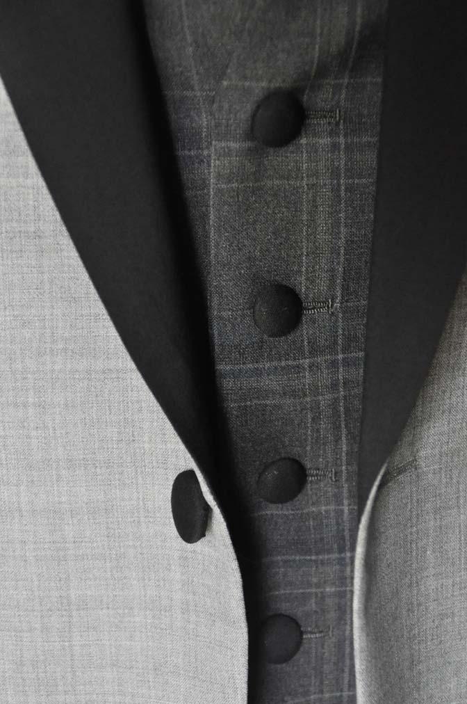 DSC2892 お客様のウエディング衣装の紹介-ショールカラージャケット チェックベスト ブラックパンツ-