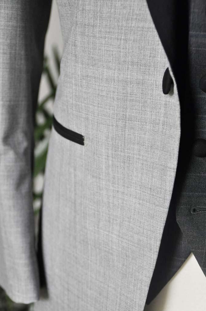 DSC2895 お客様のウエディング衣装の紹介-ショールカラージャケット チェックベスト ブラックパンツ-