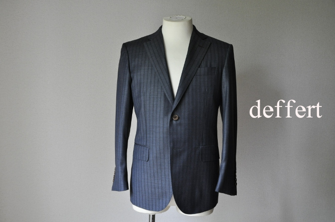 d18 お客様のスーツの紹介-DORMEUIL  AMADEUS365 グレーストライプ- 名古屋の完全予約制オーダースーツ専門店DEFFERT