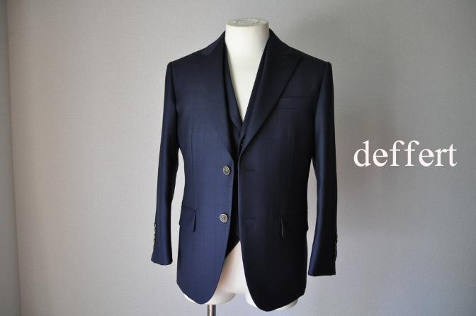 d22 お客様のスーツの紹介-DARROW DALEネイビーウィンドペーンスリーピース- 名古屋の完全予約制オーダースーツ専門店DEFFERT