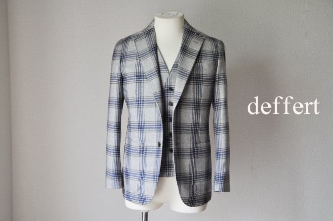 d23 お客様のスーツの紹介-TALLIA DI DELFINO グレーチェックフランネル スリーピース-