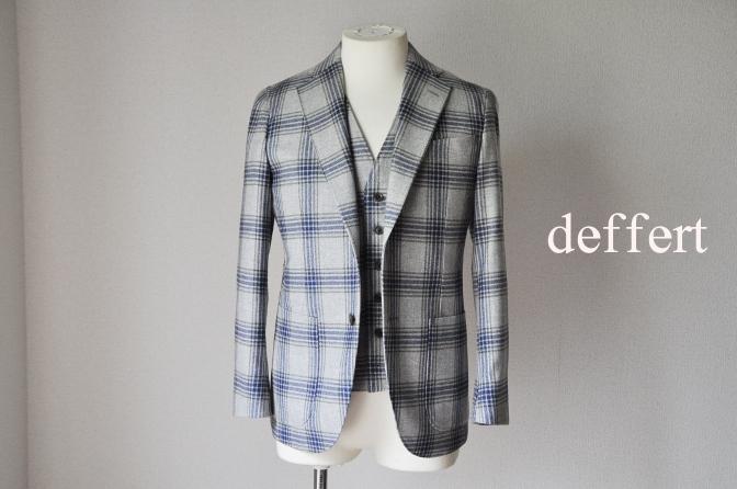 d23 お客様のスーツの紹介-TALLIA DI DELFINO グレーチェックフランネル スリーピース- 名古屋の完全予約制オーダースーツ専門店DEFFERT