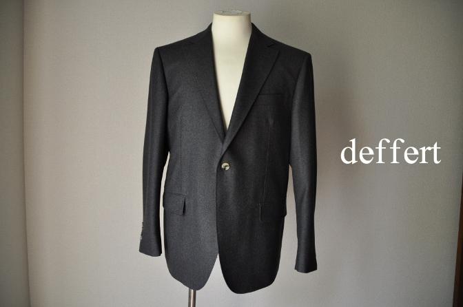 d30 お客様のジャケットの紹介-DARROW DALE 無地グレーフランネル- 名古屋の完全予約制オーダースーツ専門店DEFFERT