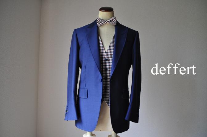 d32 お客様のウエディング衣装の紹介-BIELLESI ネイビースーツ チェックベスト- 名古屋の完全予約制オーダースーツ専門店DEFFERT