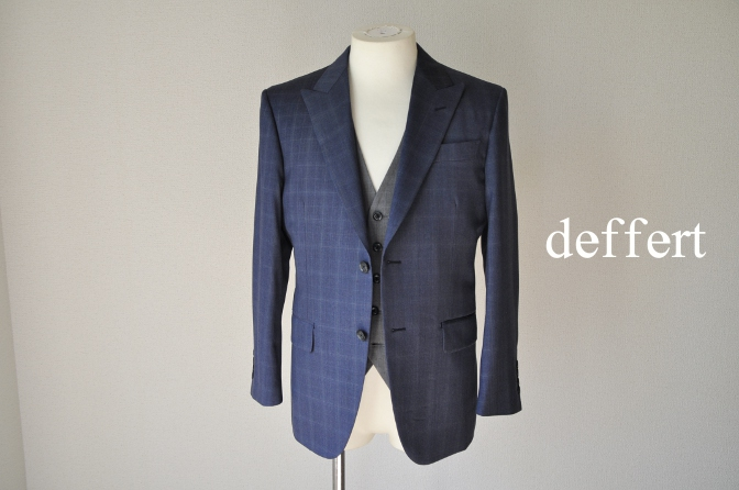 d47 お客様のウエディング衣装の紹介- BIELLESI ネイビーチェックスーツ グレーチェックベスト-